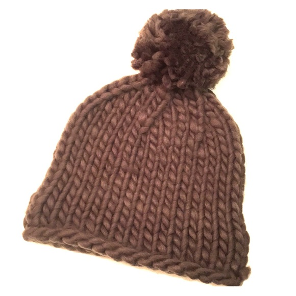 956730a784d365 Accessories | Crochet Knit Beanie W Giant Pom Pom | Poshmark